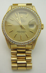 Rolex Oyster Perpetual Day-Date Solid 18k Yellow Gold Watch