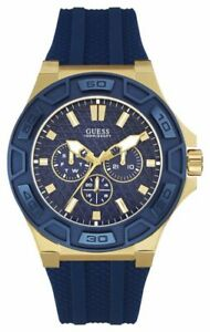 GUESS Mens Force Blue & Gold Silicone Strap Watch - W0674G2