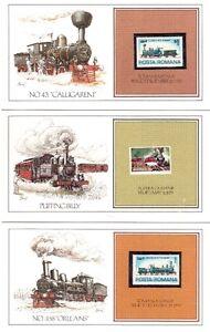 13 cartes avec des trains et locomotives plus timbres .