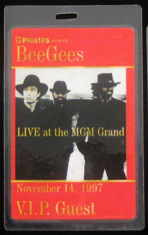 Bee Gees 1997 Live MGM Grand Las Vegas NV Laminate VIP Guest Backstage Tour Pass