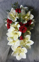 Beautiful White Orchards & Red Rose Wedding Bouquet Flower Set.