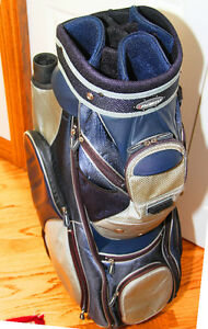 Gently Used AdamsGolf Cart Bag in Blue Grey and Silver Finish