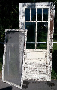 Antique Country Farm Screen Door w Storm Window & Screen