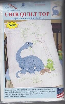"1 Jack Dempsey ""Dinosaurs"" Stamped Cross-Stitch-Embroidery Crib Quilt Top"