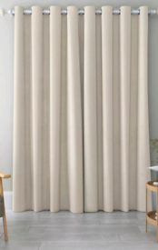 John Lewis & Partners Light Beige Eyelet Curtains | RRP £160