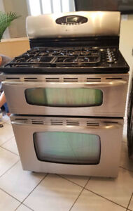 Stainless  Maytag stove with double oven