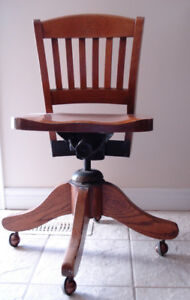 Antique Solid Oak Swivel Bankers Chair