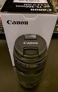 Canon EF 75-300mm f/4-5.6 III USM Lens - Brand New w/58mm Filter