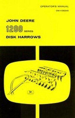 John Deere 1200 Model 1205 1206 1207 1208 1209 Disk Harrow Operators Manual Jd