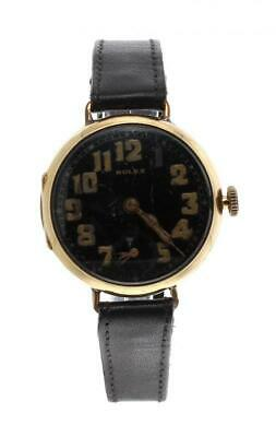 Antique WWI Rolex watch black dial military gold 18 KT mechanical collectible