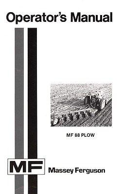 Massey Ferguson Mf 88 Mf88 Plow Operators Manual
