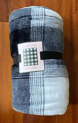 NEW Victoria's Secret Blanket Holiday 2019 VS Black White Check Plaid Throw