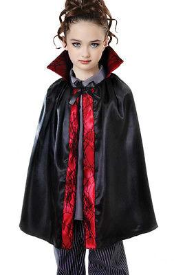 Kinder-Schwarz Umhang Vampir Mädchen Jungen Halloween Kostüm Satin und Rot ()