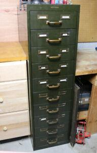 Vintage Metal Industrial Card File Tall Drawer Stack Army Green