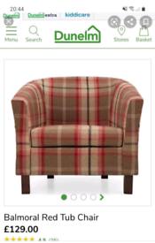 Tartan tub chair x2. £90 for 1 or £175 for pair