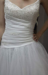 REDUCED! WHITE WEDDING  DRESS and VEIL