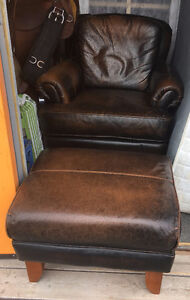 Beautiful Leather Chair and Ottoman