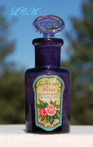Tiny COLGATE Co antique FRENCH ROSE purple PERFUME bottle w/ ORIG glass STOPPER