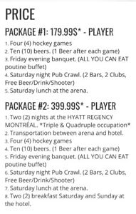 Hockey Players wanted for Montreal Hockey Tournament 19+