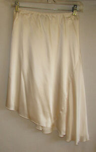 100% SILK Asymmetrical Cream Skirt - Size 3 - NEW with TAGS