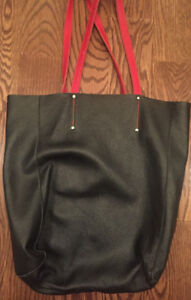 Roots Tribe Leather Tote Black Mint I Ship