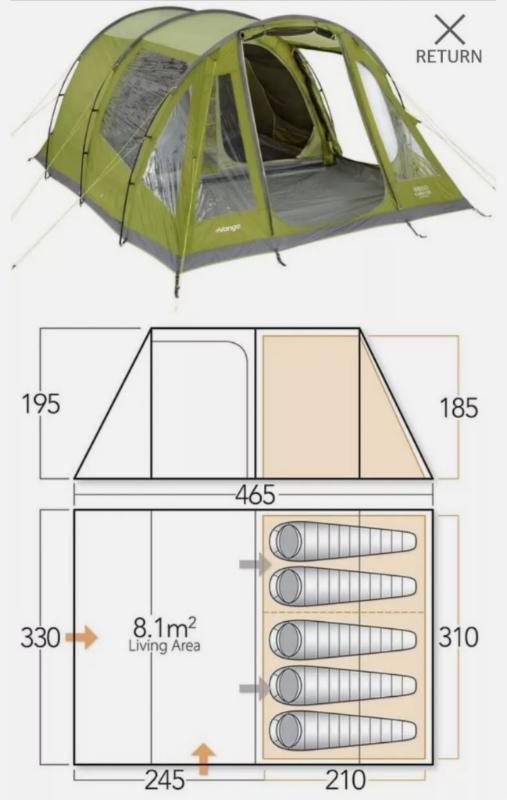 Vango Icarus 500 - 5 person tent | in Pontnewydd, Torfaen ...