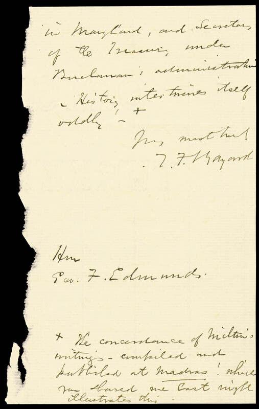 THOMAS F. BAYARD SR. - AUTOGRAPH LETTER SIGNED 02/11/1882