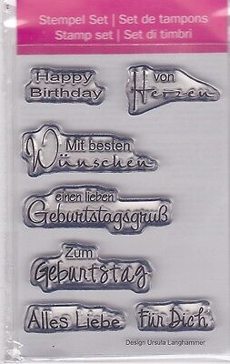 Motiv-Stempel Clearstamps Set 7 Stück Geburtstag Nr.I von Herzen efco 45 111 07