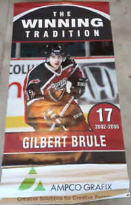 Gilbert Brule autographed stick, print, Vancouver Giants banner
