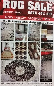 Rug Sale, Belleville- Christmas Special 40% OFF on all Area Rugs