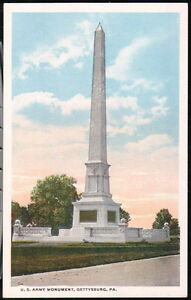 GETTYSBURG-PA-US-Army-Monument-Vintage-Postcard-Early-Old-Pennsylvania-PC