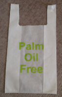 """Reusable grocery bags with """"Palm Oil Free"""" logo."""