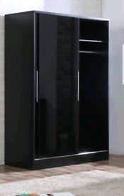 Black or white sliding doors wardrobes new flat pack free local delive