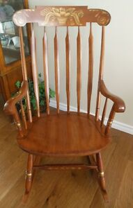 BEAUTIFUL QUALITY BUILT L. HITCHCOCK MAPLE ROCKING CHAIR
