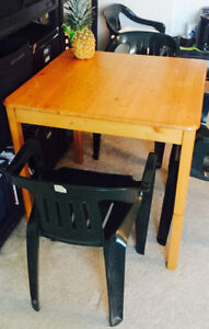 Moving Sale--Soild wood table with 4 dining chairs