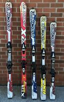 Used Fischer RX downhill skis w bindings mens 140 150 160 170 cm