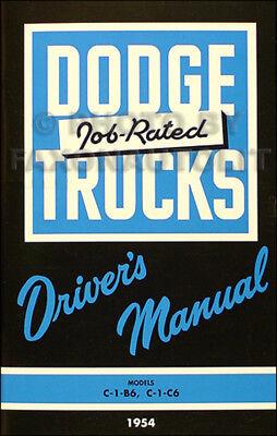 1954 1955 Dodge C 1 Pickup Truck Owners Manual 54 55 C1 C1B6 C1C6 Drivers Book
