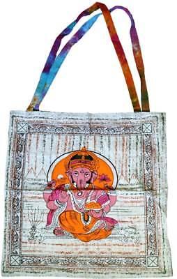 Ganesha Hindu Elephant God Colorful 100% Cotton 18