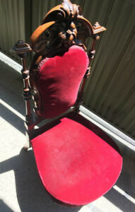 Antique 1800s CHAIR Original Solid Carved Wood