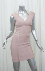 Hervé Leger bandage bodycon dress, blush/nude coloured - M