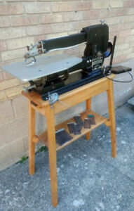 Woodworking Scroll saw with oak stand. Canadian.