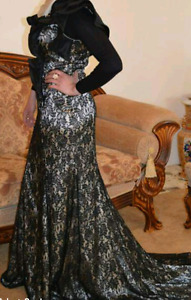 Black and gold lace worn twice
