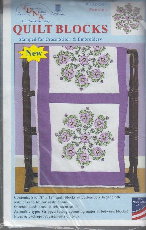 """1 Pk Jack Dempsey """"Pansies"""" Stamped Xstitch/Embroidery Quilt Blocks"""