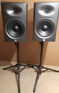 JBL LSR 2328p Monitors and Yorkville stands