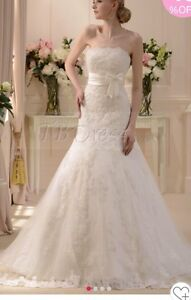 Brand New Strapless White Lace Wedding Dress