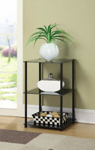 3-Tier Midnight Glass End Tables, Black Glass