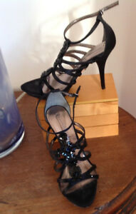 BCBG Black  Satin jewel embellished shoes size 9