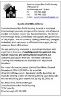 New Board Members Wanted at Sunshine Homes
