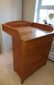 John Lewis pine sherbourne 3+2 drawer baby changing station + shelf.