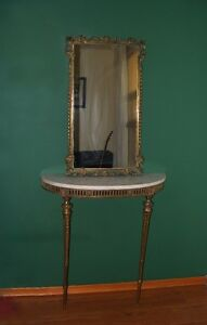 solid brass/marble hall mirror - italian